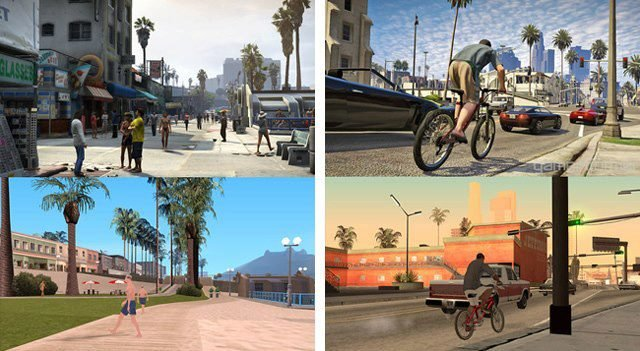 The comparison gallery of GTA San Andreas shots vs GTA V!!