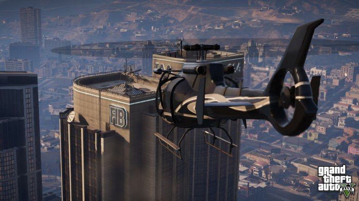 helicopter hovers over the FIB building