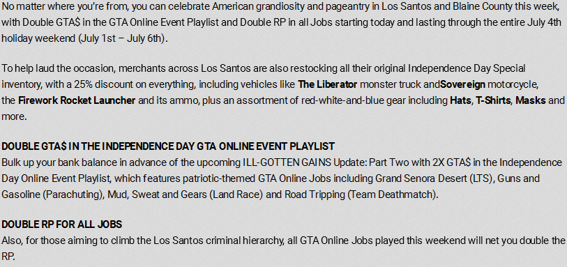 Get Double GTA$ and RP in GTA Online Now Through July 4th
